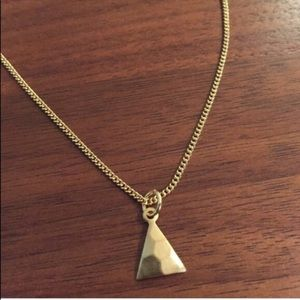 Jewelry - Delicate hammered brass triangle necklace